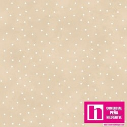P0017-MAS8119-E2 PATCH. AMERICANO BEAUTIFUL BASICS-SCATTERED DOT (89) 110 CM. ALGODON 100% BEIG/BLANCO VENTA EN PZAS. DE 7 M.