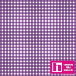 P0017-MAS610-VR PATCH. AMERICANO BEAUTIFUL BASICS-CLASSIC CHECK (77) 110 CM. ALGODON 100% PURPURA/BLANCO VENTA EN PZAS. DE 7 M.