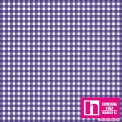 P0017-MAS610-VB PATCH. AMERICANO BEAUTIFUL BASICS-CLASSIC CHECK (79) 110 CM. ALGODON 100% MORADO/BLANCO VENTA EN PZAS. DE 7 M.