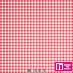 P0017-MAS610-P6 PATCH. AMERICANO BEAUTIFUL BASICS-CLASSIC CHECK (66) 110 CM. ALGODON 100% CHICLE/BLANCO VENTA EN PZAS. DE 7 M.