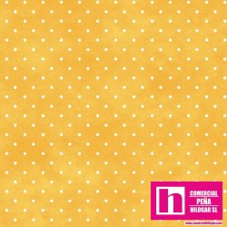 P0017-MAS609-S4 PATCH. AMERICANO BEAUTIFUL BASICS-CLASSIC DOT (31) 110 CM. ALGODON 100% AMARILLO/BLANCO VENTA EN PZAS. DE 7 M.