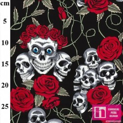 62812 PATCH.AMERIC. SPOOKY - SIMON ADAMS COLLECTION (01) 110 CM. ALGODON 100% NEGRO/ROJO VENTA EN PZAS. DE 6 M