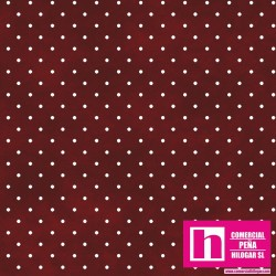 P0017-MAS609-R2 PATCH. AMERICANO BEAUTIFUL BASICS-CLASSIC DOT (25) 110 CM. ALGODON 100% GRANATE/BLANCO VENTA EN PZAS. DE 7 M.