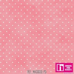 P0017-MAS609-P5 PATCH. AMERICANO BEAUTIFUL BASICS-CLASSIC DOT (20) 110 CM. ALGODON 100% CHICLE/BLANCO VENTA EN PZAS. DE 7 M.
