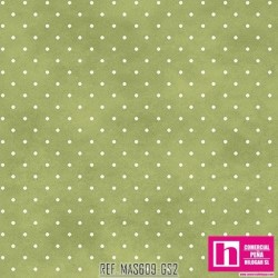 P0017-MAS609-GS2 PATCH. AMERICANO BEAUTIFUL BASICS-CLASSIC DOT (32) 110 CM. ALGODON 100% VERDE/BLANCO VENTA EN PZAS. DE 7 M.