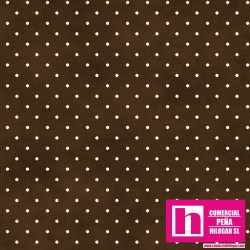 P0017-MAS609-AJ PATCH. AMERICANO BEAUTIFUL BASICS-CLASSIC DOT (14) 110 CM. ALGODON 100% CHOCOLATE/BLANCO VENTA EN PZAS. DE 7 M.