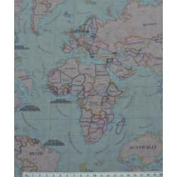 59039 TEJIDO ESTAMPADO MAPAMUNDI (01) 1.50 M. ALGODON 100% MULTICOLOR VENTA EN PZAS. DE 10 M.