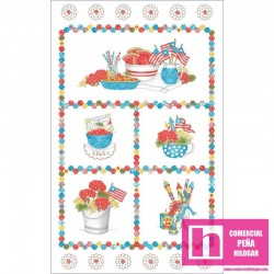 P17-MAS9380-Z PATCH. AMERICANO BACK PORCH CELEBRATION (22) PANEL 110 CM. ALGODON 100% BLANCO/MULTI VENTA EN PZAS. DE 7 M. APRO