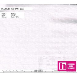 43127 ADRIAN PLUMETI LISO (06) 145 CM. ALGODON 100% BLANCO VENTA EN PZAS. DE 7 M. APROX.