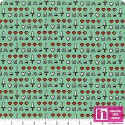63365 TEJIDO MINECRAFT HEARTS  () 110 CM. ALG 100% AGUA VENTA EN PZAS. DE 7 M APROX.
